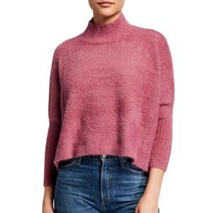 P. LUCA fuzzy mock-neck lush pink sweater Med/Lge